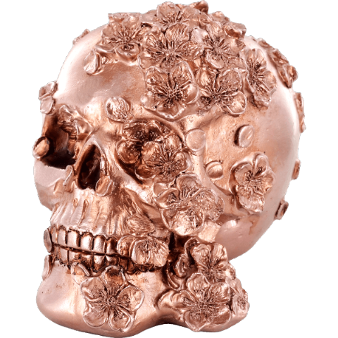 Metallic Copper Finish Gothic Skull with Flowers